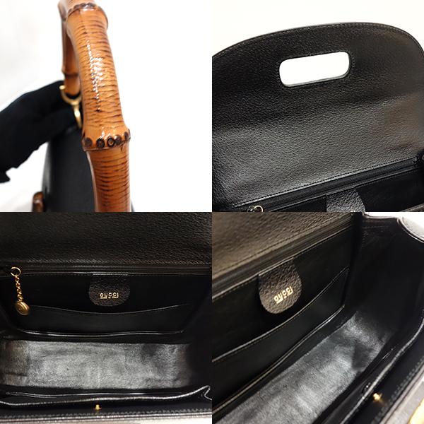 3cc944cdb26a ... Used Gucci bag handbag shoulder vintage 2way bamboo X leather black  black 000/926/ ...