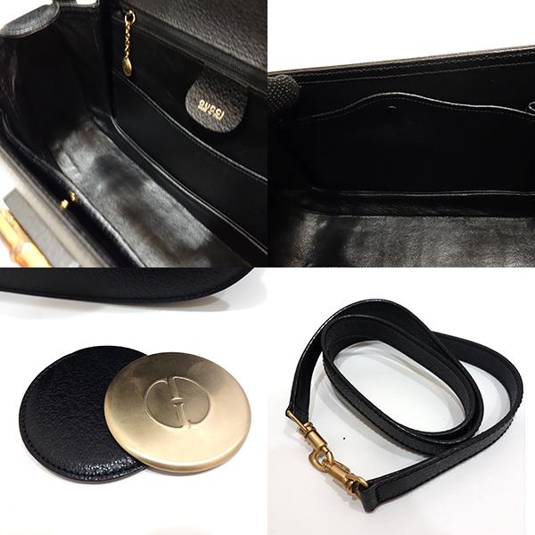 d93f0c11c68c ... Used Gucci bag handbag shoulder vintage 2way bamboo X leather black  black 000/926/