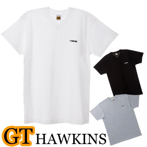 メンズ VネックTシャツ 綿の柔らかい風合い。胸元にブランドロゴマーク入り。 tシャツ メンズ GUNZE GTホーキンス VネックTシャツ HK2115 単品 vネック tシャツ メンズ gtホーキンス ブランド tシャツ 半袖 tシャツ メンズ 無地(00759)