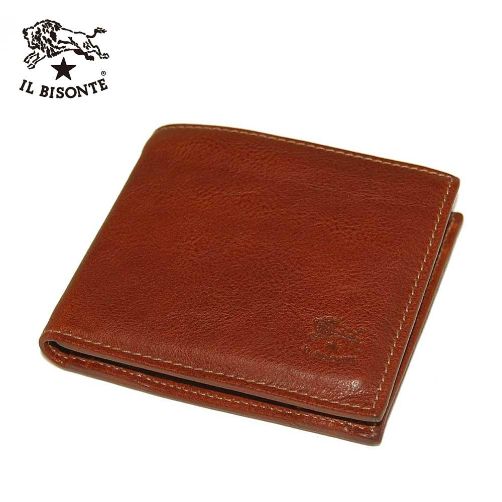 【IL BISONTE】イルビゾンテ C0487 二つ折りレザーウォレット オールレザーウォレット 牛革財布(小銭入れあり) MPO 566 ブラウン