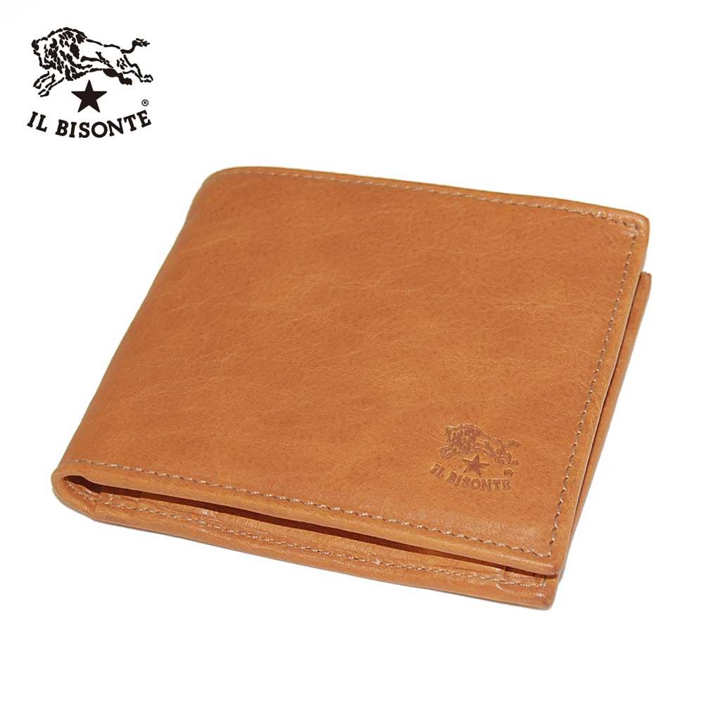 【IL BISONTE】イルビゾンテ C0487 二つ折りレザーウォレット オールレザーウォレット 牛革財布(小銭入れあり) MPO 681 オレンジ