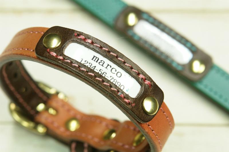 【marco】「ブッテーロ」専用オプション ブッテーロの革製ネームタグ ( 迷子札 )★ご注意:首輪とは別売りの取付オプションです。★ 迷子札 ドッグタグ 電話番号