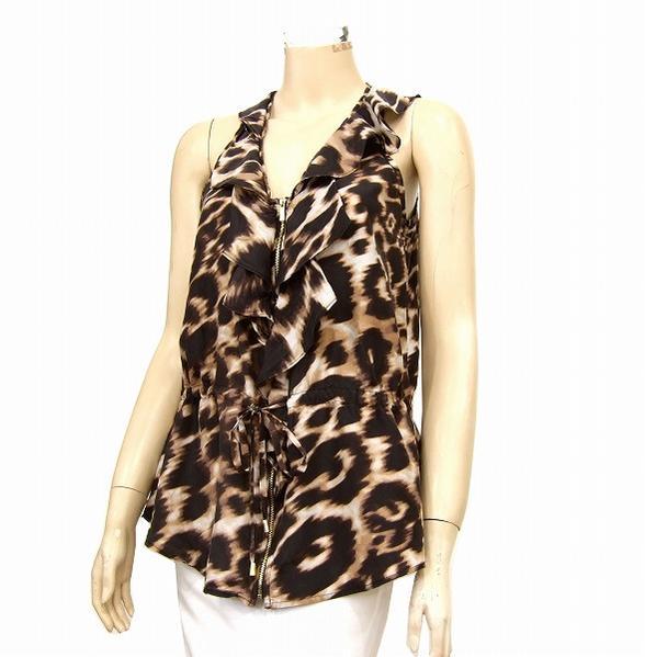 カルバンクライン Calvin Klein シルク絹100裾ぺプラム フリルブラウス サイズXS レディースUSMpGqzV
