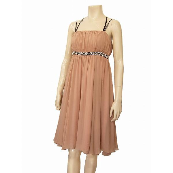 【中古】 グレース GRACE BLASA 絹シルク100% ドレスキャミワンピース 表記36号(S 7号相当) ピンク系 ビジュー パーティーに 春夏 レディース