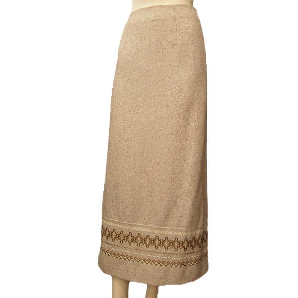 【中古】 マカフィー MACPHEE 暖かロングタイトスカート 36号(S/7号相当) ベージュ系 ウールツイード素材 毛糸モチーフ お出かけに 日本製 秋冬 レディース