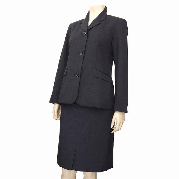 【中古】 イーストボーイ EASTBOY 気品スカートスーツ 9号(M/38号相当) 濃グレー 上質ウール100% 前スリットスカート 通勤や学校行事などフォーマルに 日本製 春秋冬 レディース