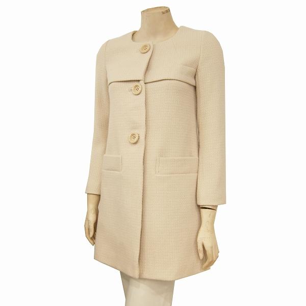 【中古】クローラ CROLLA アクアガール 暖か毛糸のミディアムコート 表記36号(S/7号相当) ベージュ系 上質ウール混 ノーカラー 大きめボタン お出掛けにも 冬 レディース