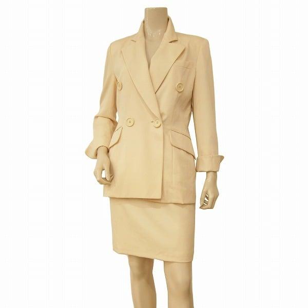極美品 中古 定番スタイル ミスディオール Miss Dior クリスチャンディオール 高級スカートスーツ 表記M レディース Sサイズ相当 印象釦 ベージュ系 ウール100% セール価格 春秋冬 学校行事 フォーマル