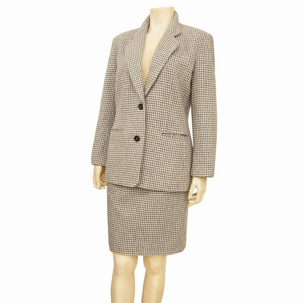 【中古】 パサデココ*PASA DE COCO 気品溢れるスカートスーツ 表記9号(M相当) 茶系 千鳥格子柄 暖かウールツイード 通勤に 秋冬 レディース
