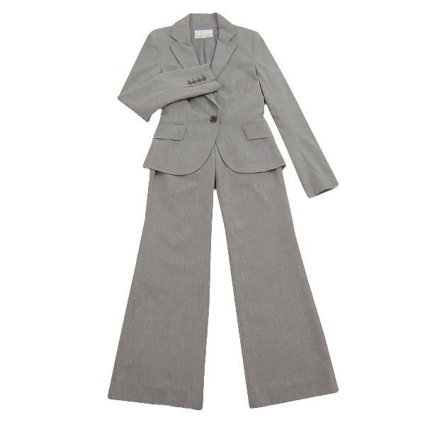 【中古】 Mプルミエ M-PREMIER すっきり綺麗ラインのパンツスーツ 表記34号(SS 5号相当) 希少サイズ 淡グレー しなやか薄手素材 通勤・学校行事に 春夏秋 レディース