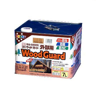 【エントリーでポイント5倍】 アサヒペン 油性 ウッドガード外部用 ウォルナット 11 (全7色) [7L] 着色半透明・油性塗料