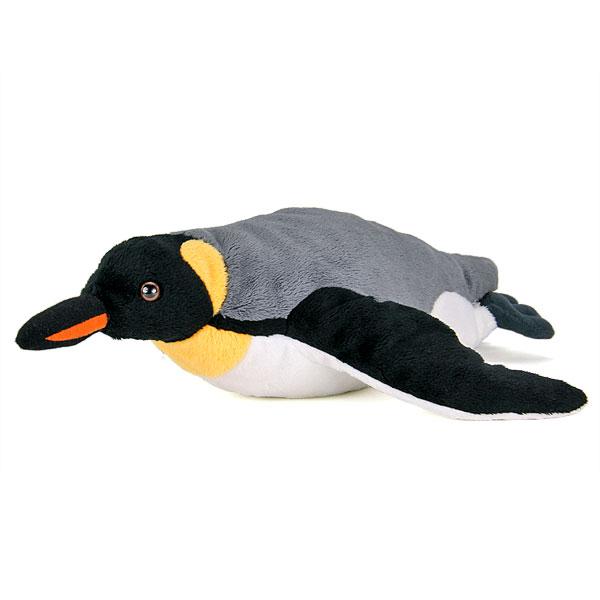 大きなフリッパーと首から胸の黄色い模様が特徴的な 泳いでる姿のキングペンギン親のぬいぐるみ ペンギン ぬいぐるみ キングペンギン リアル リアルペンギンファミリー 動物 親 毎日激安特売で 営業中です 売却 スイミング