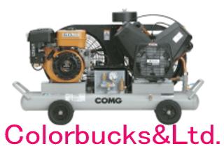 【PLUE22C-10S】(旧 PLUE22B-10S) アネスト岩田 オイル式エアーコンプレッサー 2.2kW(3馬力) セル付エンジン仕様。バッテリー標準搭載COMGシリーズ タンクマウントタイプ ガソリンエンジン アネスト岩田キャンベル