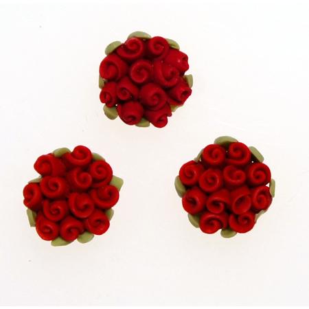 レジンパーツ 本物 レジン埋め込み アクセサリーパーツ デコパーツ d-r1 クレイ薔薇の花束 樹脂バラ直径2cmm大きめ 現品