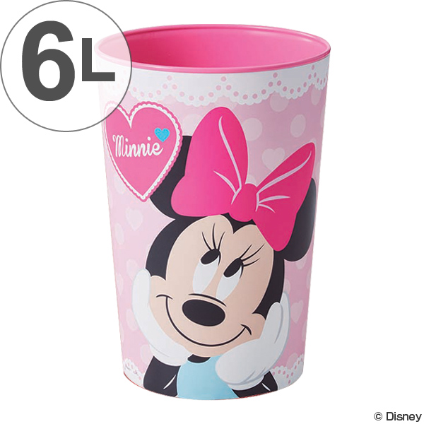 ディズニーのキャラクターと暮らしを共に ゴミ箱 6L ミニーマウス ごみ箱 キャラクター ダストボックス 丸型 ごみばこ 3980円以上送料無料 屑入れ ディズニー くず入れ 子供 子供部屋 キッズ 購買 ミニー 贈物