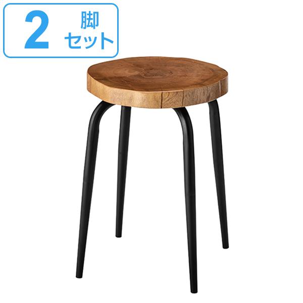 スツール 2脚セット 高さ45cm 椅子 木製 天然木 マカボニー 丸型 イス ( 送料無料 いす チェア 木製スツール チェアー 丸椅子 腰掛け おしゃれ 玄関 リビング 踏み台 来客用 キッチン )【3980円以上送料無料】