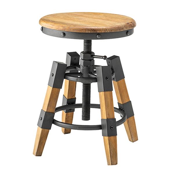 スツール 高さ58.5cm 高さ調整 昇降機能 木製 天然木 椅子 丸型 イス ( 送料無料 いす チェア チェアー 丸椅子 高さ 調整 調節 おしゃれ リビング 玄関 インダストリアル 腰掛け 踏み台 来客用 )【3980円以上送料無料】