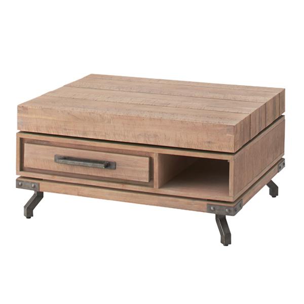 テーブル ローテーブル 回転テーブル ( 送料無料 センターテーブル 引出し付 リビングテーブル 天然木 木製 木製天板 引出し 収納 回転式 天板回転 座卓 スチール脚 )【3980円以上送料無料】