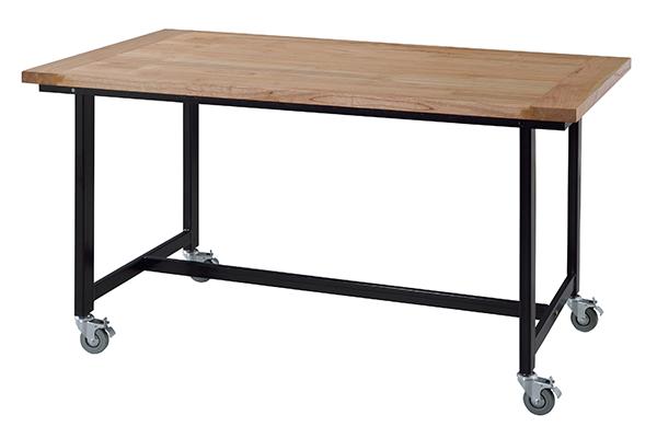 ダイニングテーブル 食卓 スチールフレーム キャスター付 幅135cm ( 送料無料 テーブル 食卓テーブル 机 木製 4人掛け 4人用 四角 キャスター 木製テーブル 食卓机 食事テーブル つくえ )【3980円以上送料無料】