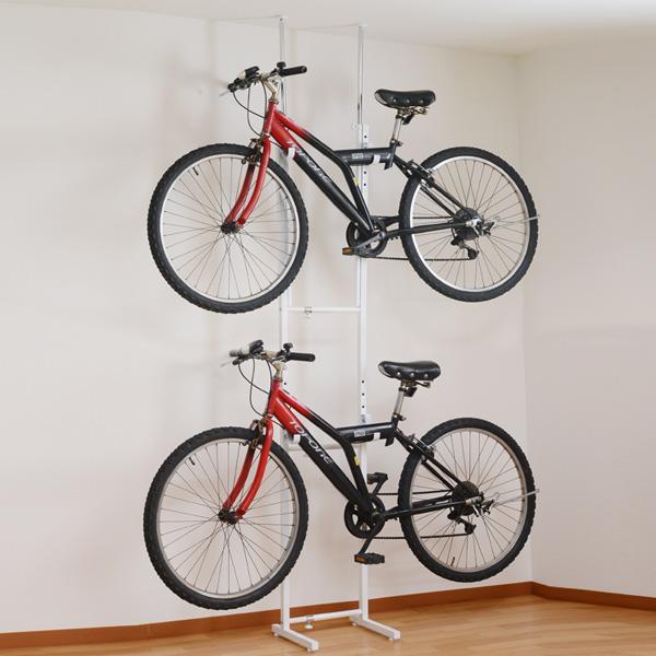 突っ張り 自転車ラック 2段 スチール製 幅31.5~46.5cm ( 送料無料 自転車収納 室内 サイクル スタンド 2台用 サイクルハンガー バイクタワー 壁掛け 突張り 自転車ハンガー 自転車 ディスプレイ バイクハンガー ロードバイク )【4500円以上送料無料】