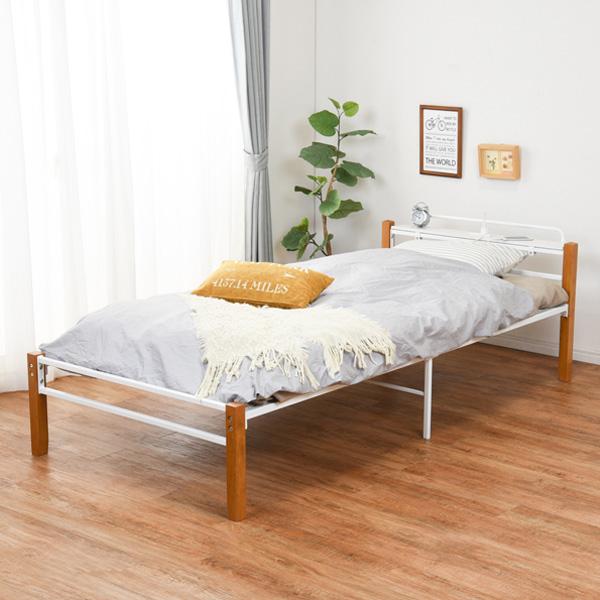 ベッド シングル 宮棚 コンセント スチールパイプ 木製 天然木 収納 メッシュ床 ( 送料無料 シングルベッド ベット パイプベッド ベッドフレーム フレーム パイプ ホワイト 通気性 湿気 対策 ベッド下収納 おしゃれ 宮付き )【3980円以上送料無料】