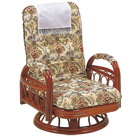 籐〔ラタン〕 回転座椅子 ギア式 座面高26cm 花柄 ( 送料無料 座椅子 チェア ) 【3980円以上送料無料】
