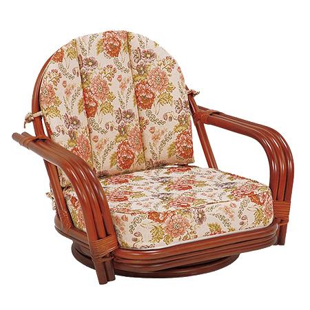 籐 回転座椅子 ラタン製 座面高16cm 花柄 ( 送料無料 座椅子 チェア ) 【4500円以上送料無料】