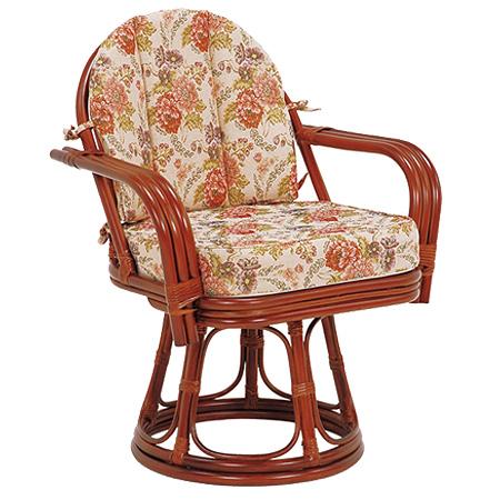 籐 回転座椅子 ラタン製 座面高42cm 花柄 ( 送料無料 座椅子 チェア ) 【4500円以上送料無料】