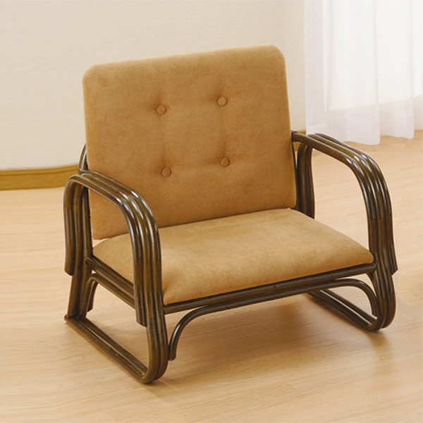 ワイド座椅子 ロータイプ ラタン 籐家具 座面高22cm ( 送料無料 正座椅子 背もたれ付き 肘付き 肘掛 イス チェア 座いす アジアン ) 【4500円以上送料無料】
