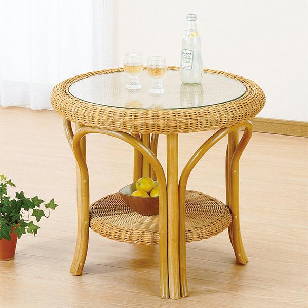 ラタンテーブル 円形 ガラス天板 棚付 籐家具 直径60cm  ( 送料無料 アジアン ) 【3980円以上送料無料】