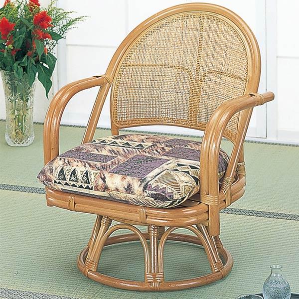 ラウンドチェア ラタン 座椅子 籐家具 座面高32cm ( 送料無料 椅子 イス アジアン ) 【3980円以上送料無料】