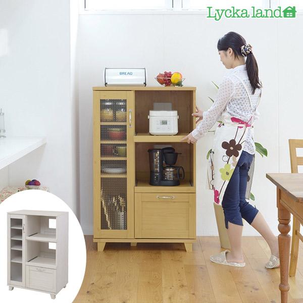 ( 送料無料 キッチン収納 カップボード ) (リュッカ ランド) Lycka land 北欧風 幅90cm 食器棚