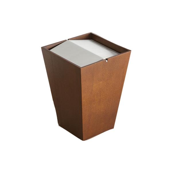 ゴミ箱 ダストボックス 木製 フラップ付 ルーフL 26.5cm角 ウォールナット ( 送料無料 ごみ箱 ダストBOX 木製 おしゃれ シンプル 四角 蓋付き ふた付き リビング 寝室 ナチュラル ブラウン 回転蓋 コンパクト )【3980円以上送料無料】