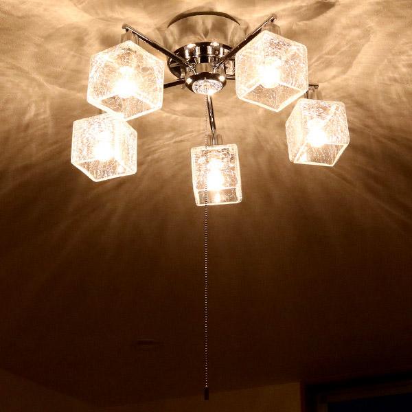 照明 ペンダントライト 5灯 LED対応 クラックキューブ Clear ( 送料無料 ライト 照明器具 天井 ペンダント ガラスキューブ おしゃれ 天井照明 ガラス リビング用 ダイニング用 間接照明 )【3980円以上送料無料】