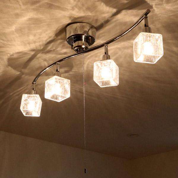 照明 ペンダントライト 4灯 LED対応 クラックキューブ Clear ( 送料無料 ライト 照明器具 天井 ペンダント ガラスキューブ おしゃれ 天井照明 ガラス リビング用 ダイニング用 間接照明 )【4500円以上送料無料】