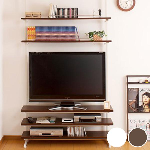 突っ張り薄型TVラック 幅119.5cm ( 送料無料 つっぱり テレビ台 テレビボード AVボード TV台 中型 大型 40インチ 42インチ 46インチ 日本製 棚 )