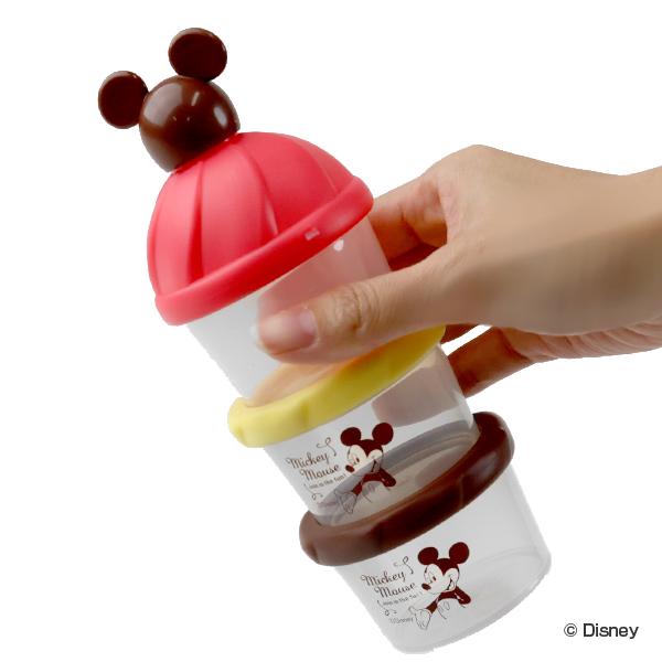 ミッキーマウスのイラスト入りミルクストック ミルクケース ミッキーマウス 3回分 日本製 小分けケース 80ml 粉ミルク プロテイン 持ち運び 小分け 記念日 容器 ロート 入れ物 キャラクター ミッキー ディズニー 連結 3980円以上送料無料 ケース 保存容器 新作 人気 3段 漏斗付き