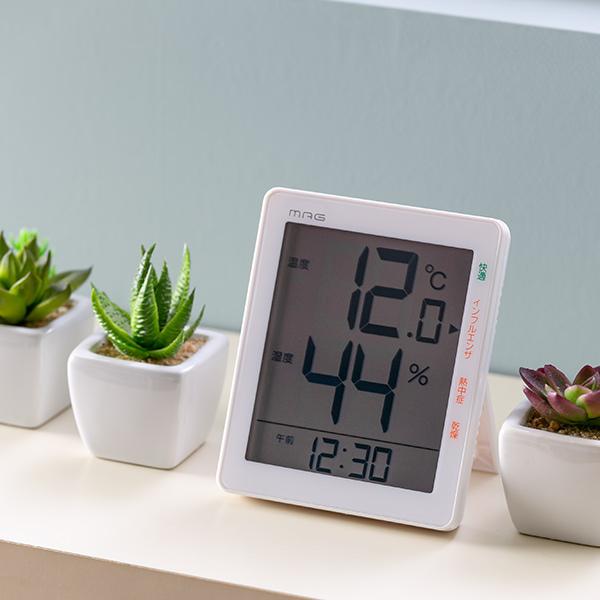 毎日の体調管理の目安にも 温湿度計 置き時計 デジタル温湿度計 時計付き 温度計 温湿計 湿度計 予約販売 置時計 掛け時計 大きな文字盤 見やすい デジタル表示 掛け リビング 置き 電池式 乾燥対策 両用 3980円以上送料無料 熱中症予防 快適 2020新作 ウイルス対策