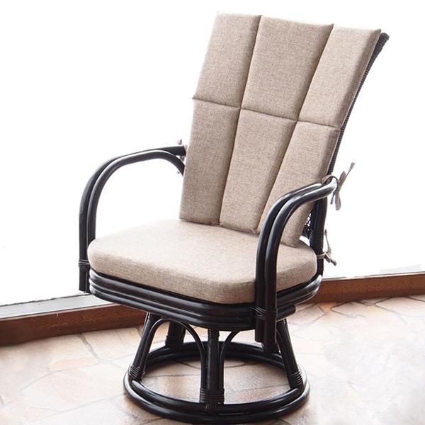 籐 ラタン 回転座椅子 ゆったり回転チェア ( 送料無料 座椅子 チェア 椅子 アジアン家具 回転式チェア 回転 チェアー リビング フロアチェア クッション付 いす イス )【4500円以上送料無料】