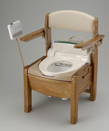 ポータブルトイレ 木製 きらく SJ型 跳ね上げ式肘掛け 送料無料 【4500円以上送料無料】