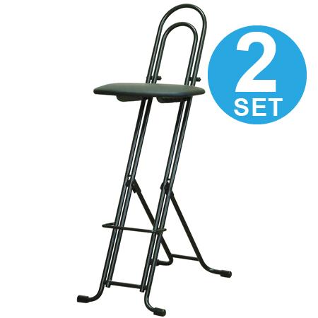 折りたたみ椅子 ジャンボベスト ワークチェア 2脚セット レザーシート ( 送料無料 カウンターチェア デスクチェア 座面無段階高さ調節 フォールディングチェア パイプ椅子 イス 昇降 ) 【4500円以上送料無料】