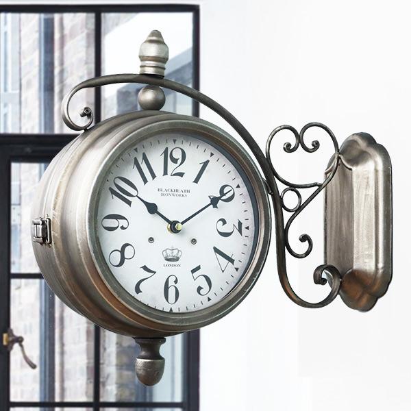 掛け時計 ウォールクロック アンティーク 両面 ブロンズ 幅39cm ( 送料無料 壁掛け時計 時計 インテリア 両面時計 ダブルフェイス 駅 外国 雑貨 壁掛時計 掛時計 とけい アナログ 壁 )【4500円以上送料無料】