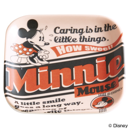 小皿 メラミンミニプレート 四角 ミニーマウス バッジコレクション メラミン製 キャラクター ( 子供用食器 お皿 プレート 割れにくい キッズ用食器 ミニー ディズニー )