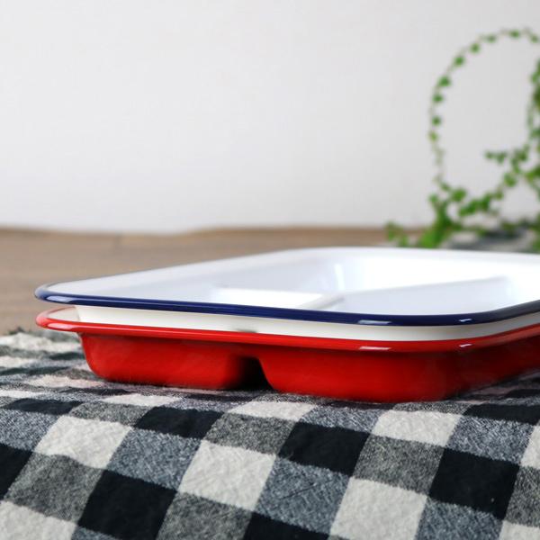 スクエアランチプレート 26cm レトロモーダ 洋食器 樹脂製 同色3枚セット 日本製 (  皿 食器 器 お皿 電子レンジ対応 食洗機対応 ホーロー風 白 ホワイト 食洗機可 電子レンジ可 レンジ可 )