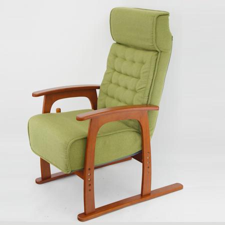リクライニングチェア コイル式座椅子 布張り グリーン ( 送料無料 リラックスチェアー スリム 無段階リクライニング ソファ 1人掛け ) 【4500円以上送料無料】