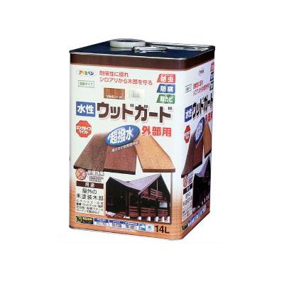 【送料無料】 アサヒペン 水性 ウッドガード外部用 マホガニー (全6色) [14L] 着色半透明・水性塗料