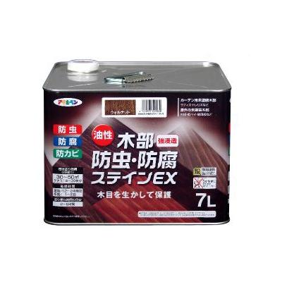 アサヒペン 油性 木部防虫・防腐ステインEX チーク (全5色) [7L] 着色半透明・油性塗料
