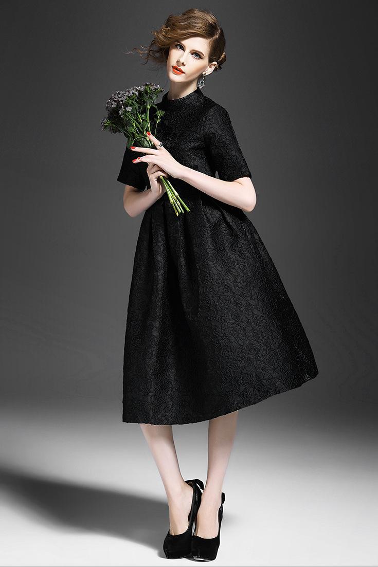 【】【送料無料】レディース ファッション フォーマル♪パーティードレス 披露宴 立てるネック ハイウェスト プリーツ 花柄 フレア ミディアム マキシ ロング ワンピース 結婚式 ドレス