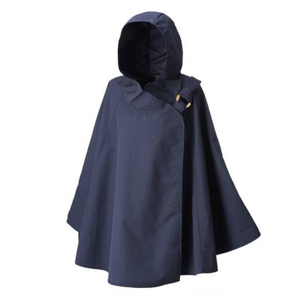レインボンチョ 雨の日も安心、水をはじく優れた撥水生地で製作したポンチョ 紺色 こん色 ネイビー