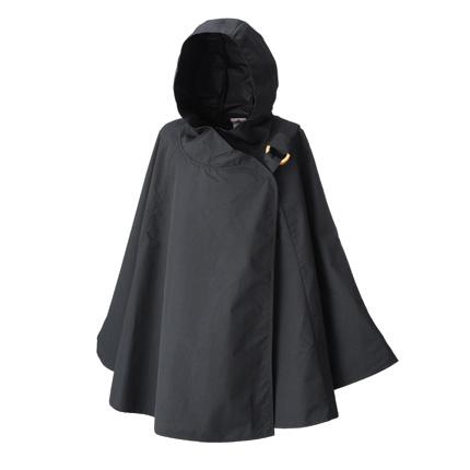 レインボンチョ 雨の日も安心、水をはじく優れた撥水生地で製作したポンチョ 墨黒 黒色 ブラック